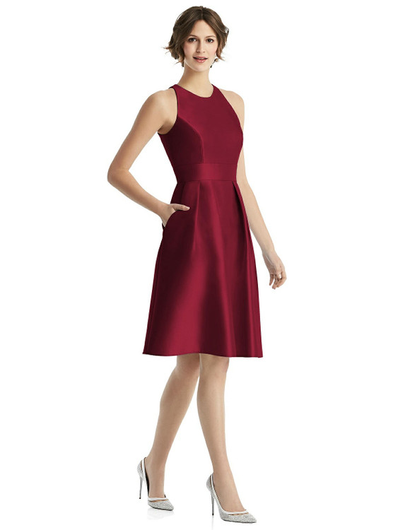 High-Neck Satin Cocktail Dress with Pockets by Alfred Sung Bridesmaids 23 colors D769 in