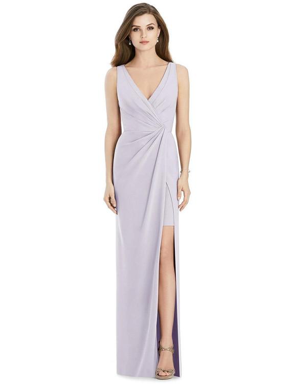 Sleeveless Faux Wrap Maxi Dress with Peekaboo Mini Skirt By Jenny Packham JP1013 in 35 colors
