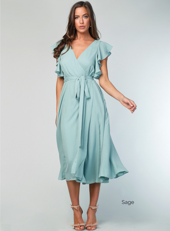 Flutter Sleeve Midi Dress By Samantha Rose