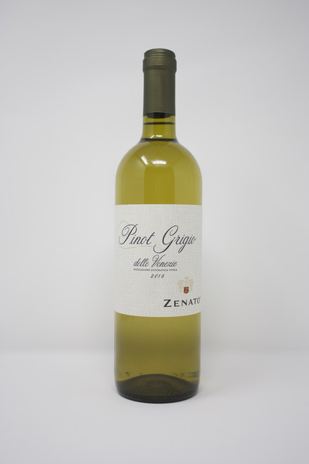 Pinot Grigio  Delle Venezie Zenato 2016  Delicately scented and soft on the palate, it offers classic citrus and floral notes in a balanced elegant style. Aromas of Key limes and white peaches complement undertones of green apples and grains of paradise. Smooth and refreshing with a long, pleasant finish. Pair with hors d'oeuvres, vegetable soups, fresh garden salads, and grilled sole.