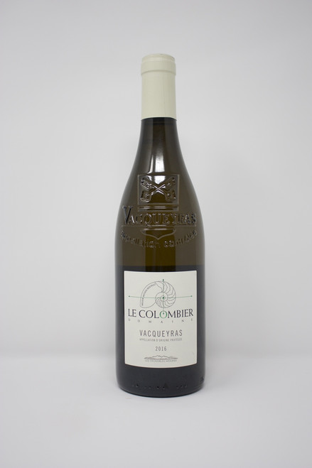 Vacqueyras  Domaine le Colombier 2015 Organic 40% Viognier, 30% Marsanne, 30% Grenache Blanc The soft body given by the Grenache Blanc is balanced by the fruity and fresh character of the Marsanne and the Viognier. Pair with white fish with creamy sauce, white meat, pasta with Gorgonzola, sea food with curry, crab cake, Cajun food.