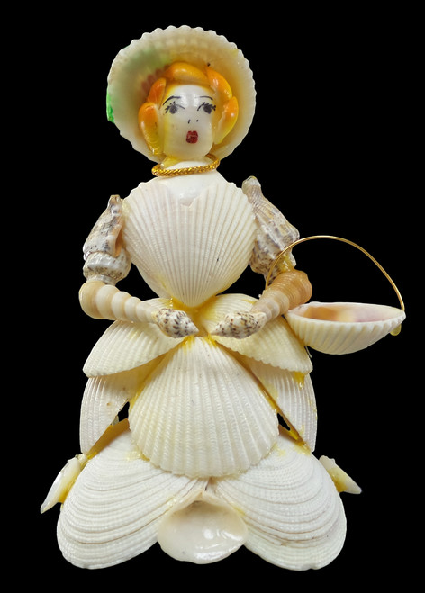 Natural Shell Doll with White Cockle Basket