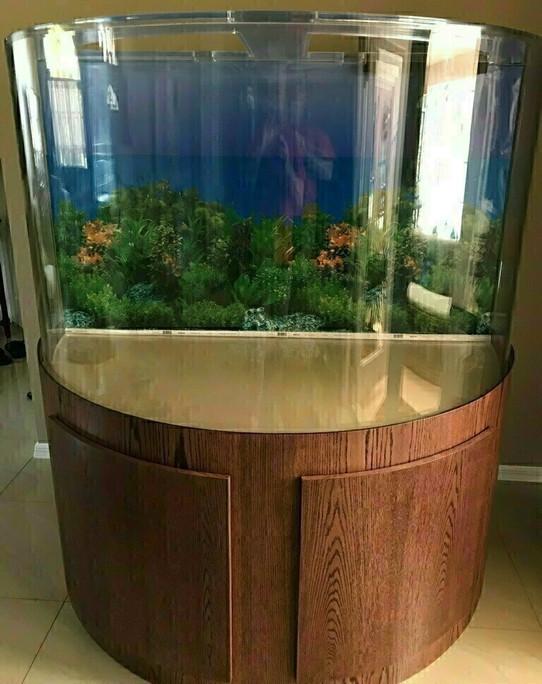 "Tsunami 70-Gallon 36""Lx18""Wx30""H Half Cylinder Acrylic Aquarium Setup"