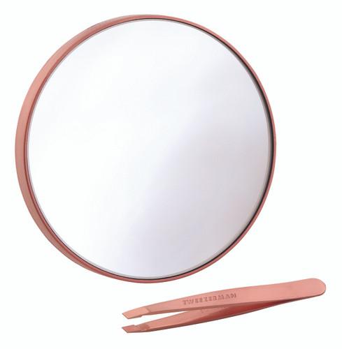 Tweezerman Rose Gold Mirror & Mini Slant Tweezer Set