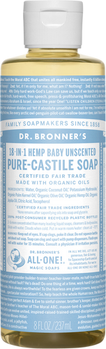 Dr Bronner's 18-in-1 Hemp Unscented Baby-Mild Pure-Castile Soap - 237ml