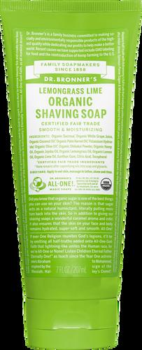 Dr Bronner's Organic Fair Trade Shaving Soap Gel Lemongrass Lime