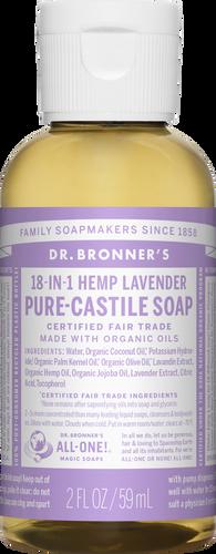 Dr Bronner 18-in-1 Hemp Lavender Pure-Castile Travel Soap - 60ml