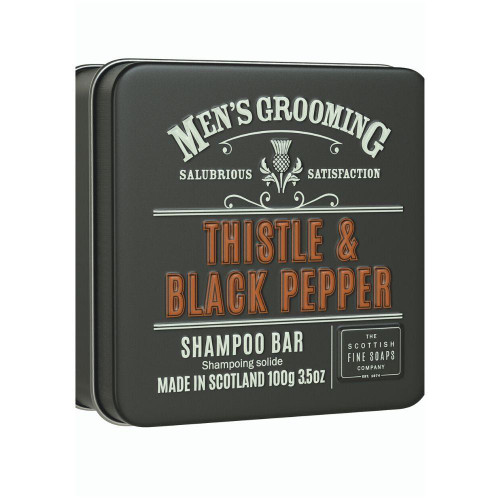 Scottish Fine Soaps Men's Grooming Thistle & Black Pepper Shampoo Bar in a Tin