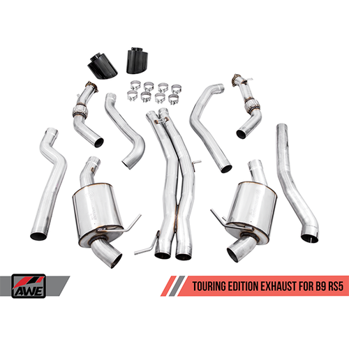 AWE Touring Edition Exhaust for Audi B9 RS5 Coupe - Non-Resonated - Diamond Black RS-style Tips