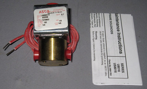 U8262C14 - Gas/Fluid Valve, 150PSI, 24VDC Coil (Automated Switch Co.)