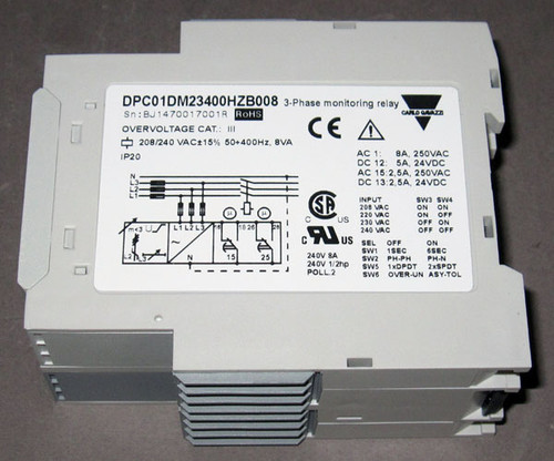 DPC01DM23400HZ-B008 - 3-Phase Monitoring Relay, 208/240V 50-400Hz (Carlo Gavazzi)