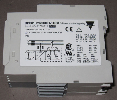 DPC01DM69400HZ-B008 - 3-Phase Monitoring Relay, 600/690V 50-400Hz (Carlo Gavazzi)