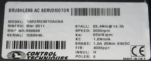 142UME301CACAA - Brushless AC Servomotor (Control Techniques)