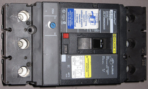 JGL37250D82AAUO / JG250 - 250A 500V 3-Phase Circuit Breaker (Square D) - Used