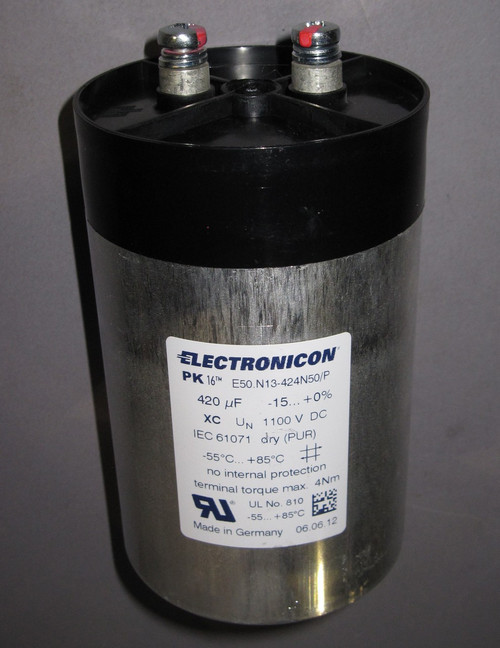 E50.N13-424N50/P - 1100VDC 420uF Capacitor (Electronicon) - New/RFE