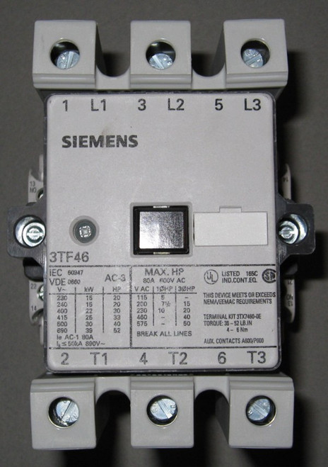 3TF4622-0AK6 - 50HP 575V 3-Phase Contactor -120V-Coil (Siemens)