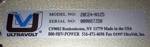 Ultravolt  20C24-N125 - 20kV 125W Capacitor Charging Power Supply