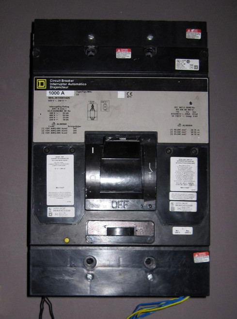 MHL361000-1426 - 600V 1000A Circuit Breaker with optional MA11027, MA11352 (Square D) - Used