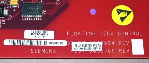 non-standard - 60104F1 - Floating Deck Control Boards (Siemens) - modified/incomplete