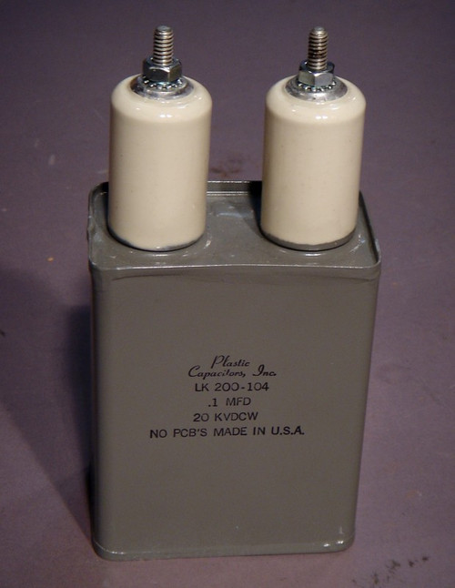 High-Voltage Capacitor, 20kVDC .1uF, LK200-104 - Used