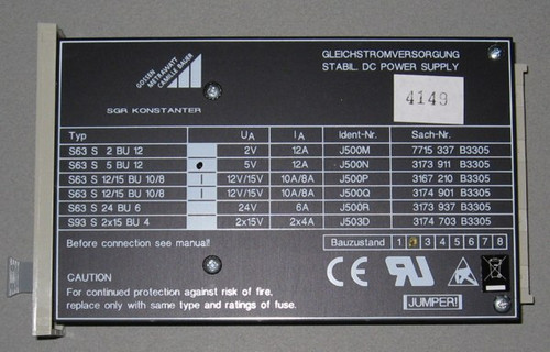 S63S5BU12 - 5V 12A DC Power Supply (Gossen-Metrawatt)