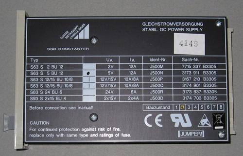 S63S5BU12 - 5V 12A DC Power Supply (Gossen-Metrawatt)