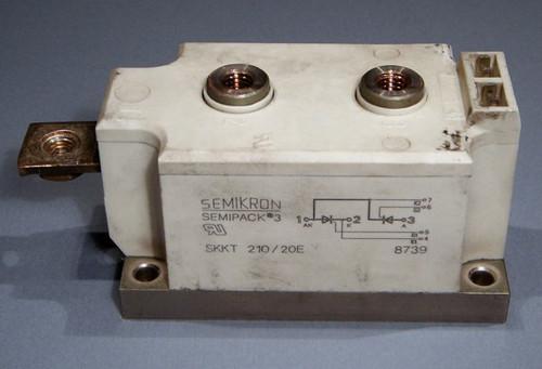 2000V 210A dual SCR / Thyristor module, Semikron SKKT210/20E - Used
