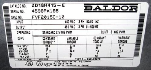 ZD18H415-E - 15HP Series 18H AC Flux Vector Control Drive (Baldor)