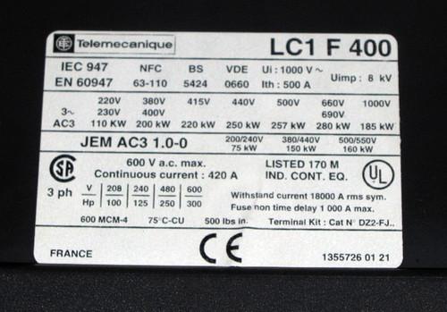 LC1F400 - Contactor (Telemecanique) - Used