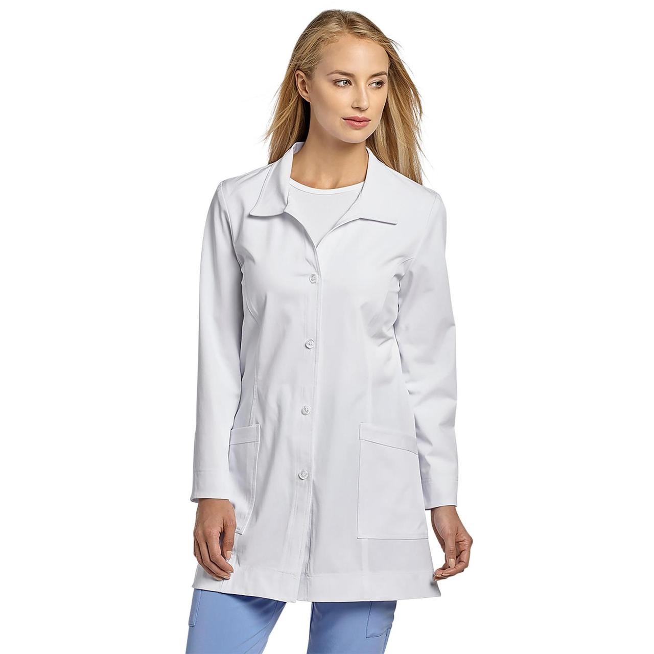 White Cross 4 Button Labcoat with Princess Seam