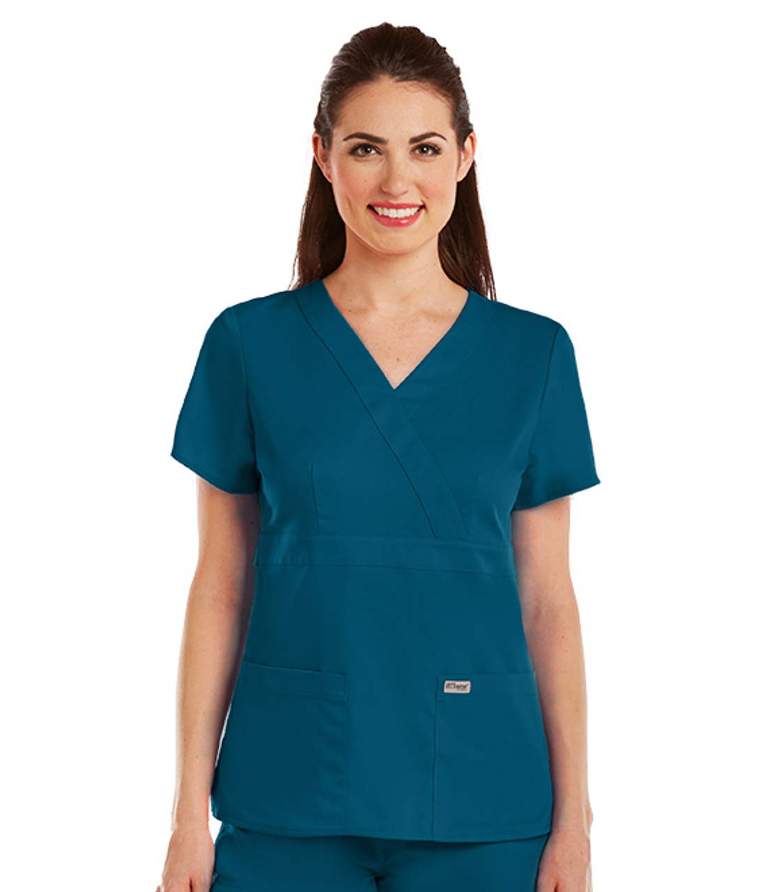 Grey's Anatomy™ 3 Pocket Mock Wrap Top