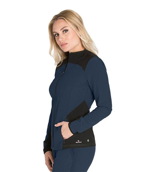 Women's Sleek Neckline Zip Front Scrub Jacket