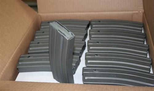 AR15 Magazines with GRAY Teflon Finish, Magpul ENHANCED Followers, 30 Round - GRAY - 100 Pack