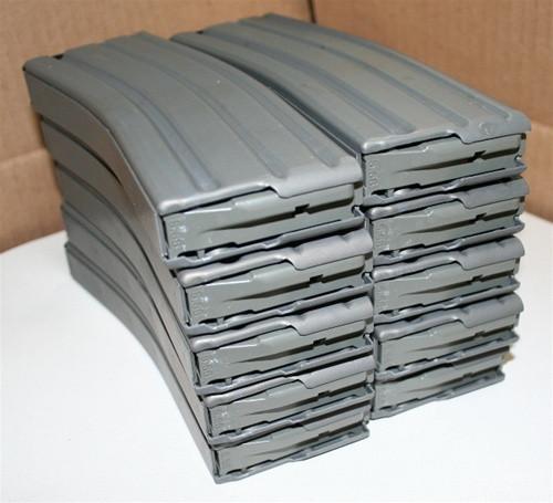 AR15 Magazines with GRAY Teflon Finish, Magpul ENHANCED Follower, 30 Round - GRAY - 10 PACK