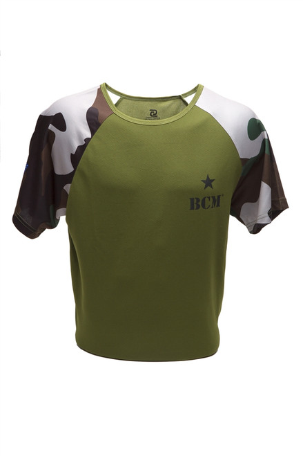 Raglan Camo, Moisture Wicking, Short Sleeve T (Green)