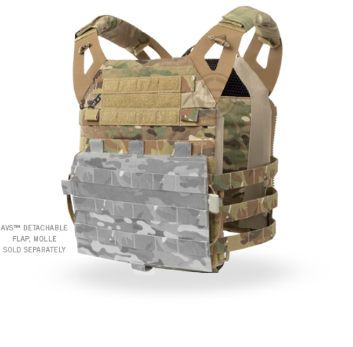 a lightweight and minimal armor vest designed for maximum mobility, weight savings, and packability.