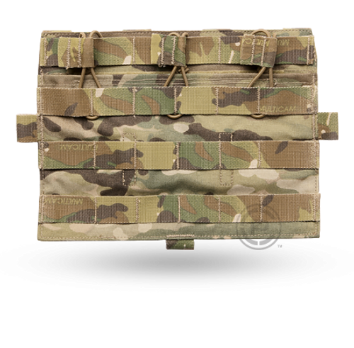 This detachable flap attaches to the front platebag (Standard or MBAV) of AVS™ to provide three M4 mag pouches