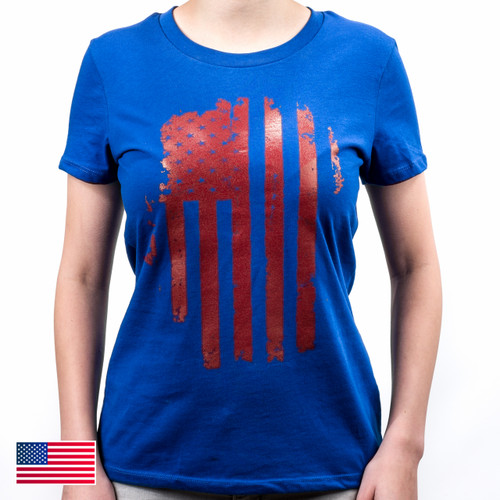 Patriot Women's Tee S/S, Mod 14 (Royal/Red)