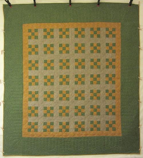Nine Patch Patchwork Amish Quilt 94x109