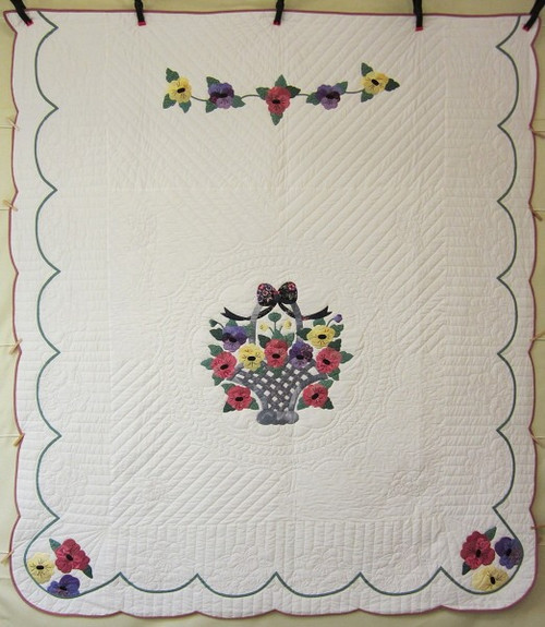 Basket Posies Flower Applique Amish Quilt 92x104