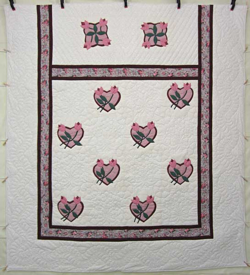 Heart Rose Bud Applique Amish Quilt 101x111