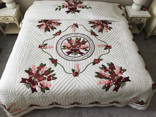 Rose of Sharon Applique Amish Quilt 93x108
