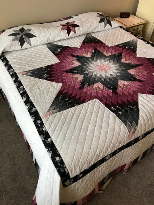 Gray Burgundy Lone Star Patchwork Queen Amish Quilt 101x110