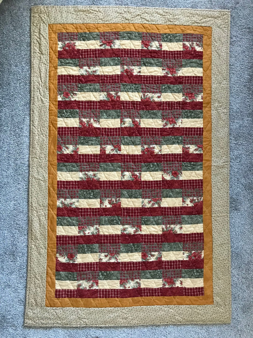 Rail Fence Roman Stripe Hand Quilted Quilt Wall Hanging 34x53
