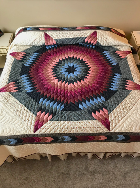 Country Lone Star Patchwork King Amish Quilt 105x115