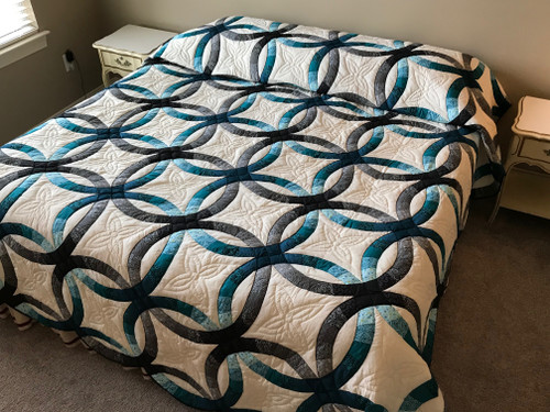 Teal Gray Wedding Ring Amish Quilt 104x117