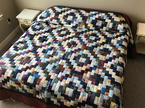 Scrappy Navy Patchwork Amish Large King Quilt 114x114
