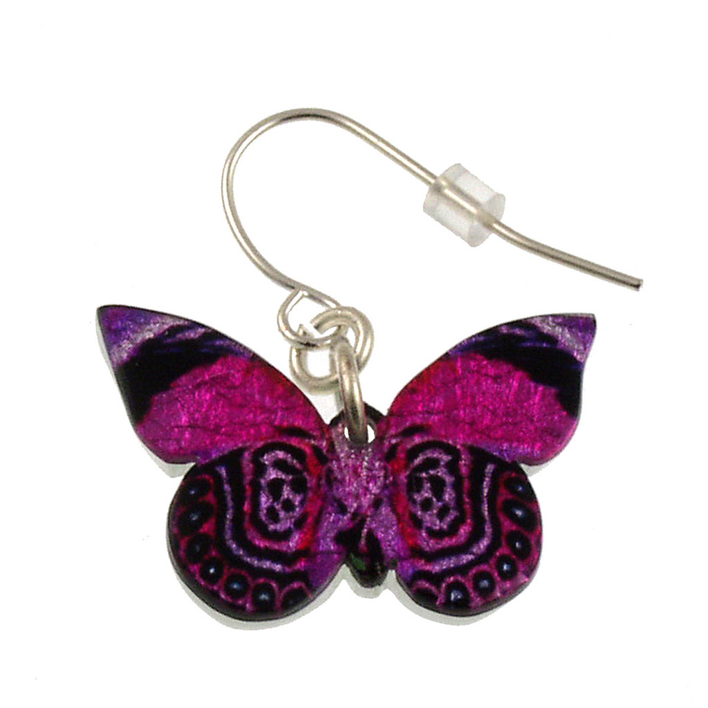 "4124-6 -Fantasy Pink Full Butterfly Earring 1""W"