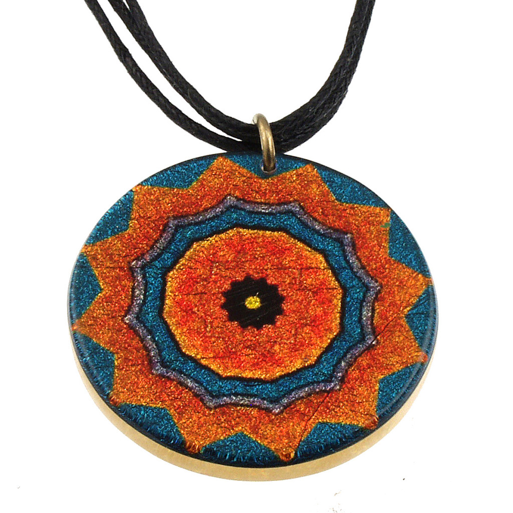 4130-141 - Blue/Orange Kaleidoscope Pendant on Cord