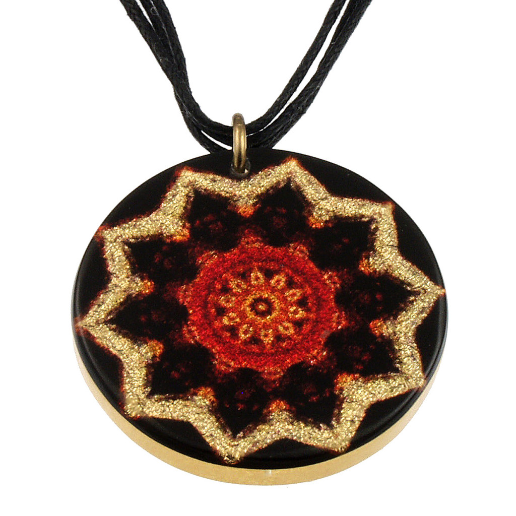 4130-139 - Red Starburst Pendant on Cord